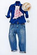 レディース麻シャツ 紺