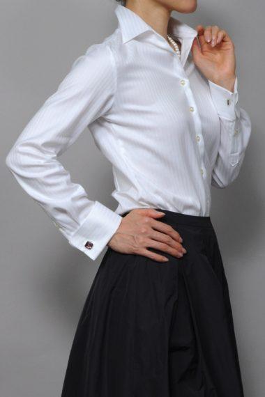 オジエ・レディースダブルカフスシャツ-6066-C09A-1