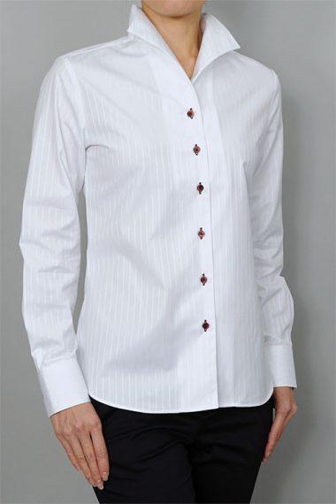 レディース・イタリアンカラー 白シャツ