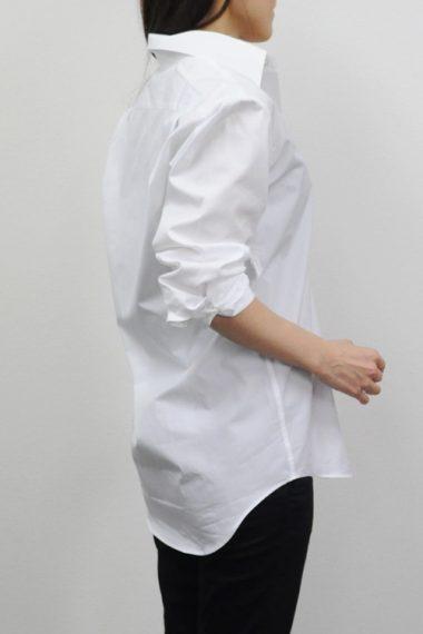 レディース襟抜きコーディ・1600-W-WHITE1 プレミアムコットン100番手双糸・レギュラーカラー・日本製