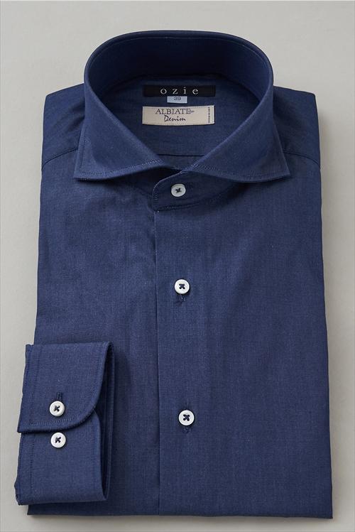 イタリア製生地使用ホリゾンタルカラーシャツ 8070it-i07b