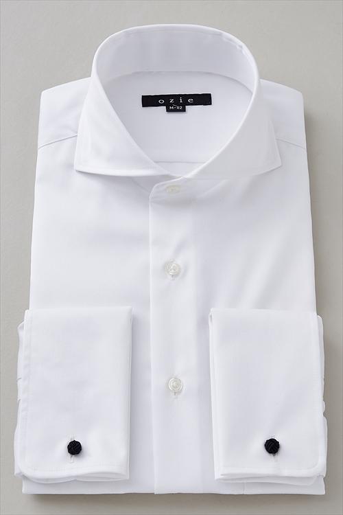 ozie|オジエ メンズ・ホリゾンタルカラーダブルカフスシャツ 8006-I10C-WHITE