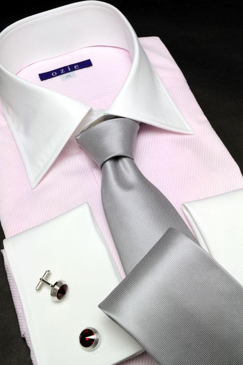 8085-12-PINK メンズ ワイドカラー・クレリック・ ダブルカフスシャツ 袖後つけ立体パターン