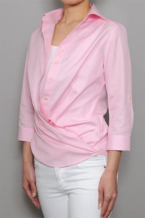 6100-B03-B  レディースカシュクールシャツ 2WAY使用