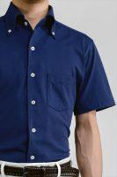 ozie|オジエ ビズポロニット半袖シャツ イタリアンカラーボタンダウン・第一ボタンアリ