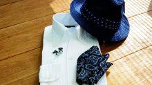 ozie|オジエ からみ織りシャツ イタリアンアラー・スキッパー 8044-S03R-WHITE