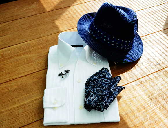 ozie|オジエ からみ織りシャツ イタリアンカラー・スキッパー 8044-S03R-WHITE