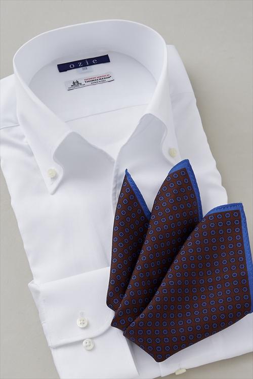 ozie|オジエ 8044IT-I07A イタリアンカラー・スキッパー白シャツ