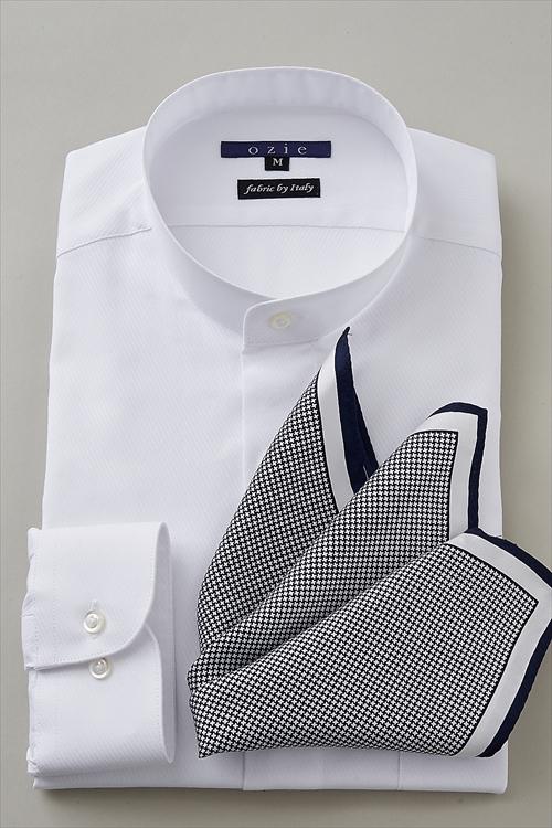 ozie|オジエ 8063-S05B スタンドカラー 白シャツ