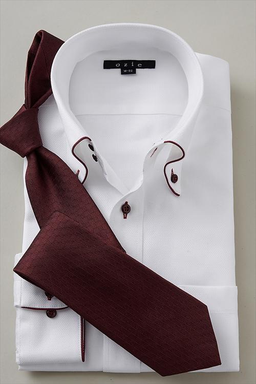 ozie|オジエ 8065EP-G06B ドゥエボットーニ・ボタンダウン・パイピング 白シャツ