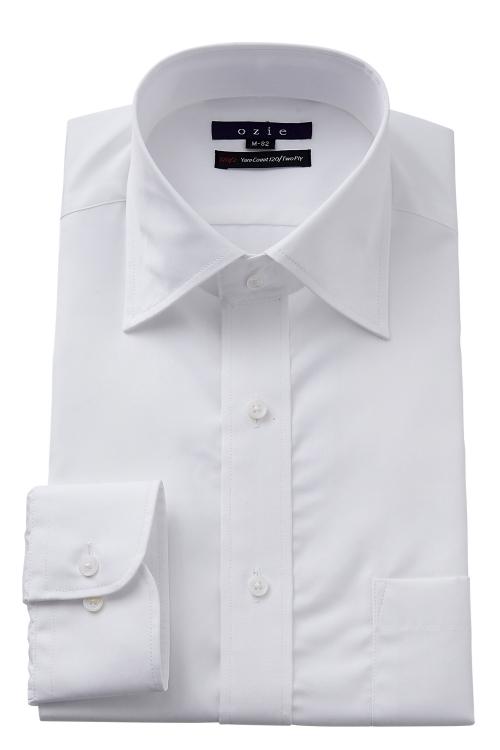 ozie|オジエ 801-G12A 120番手双糸仕様ブロード白シャツ・ワイドカラー