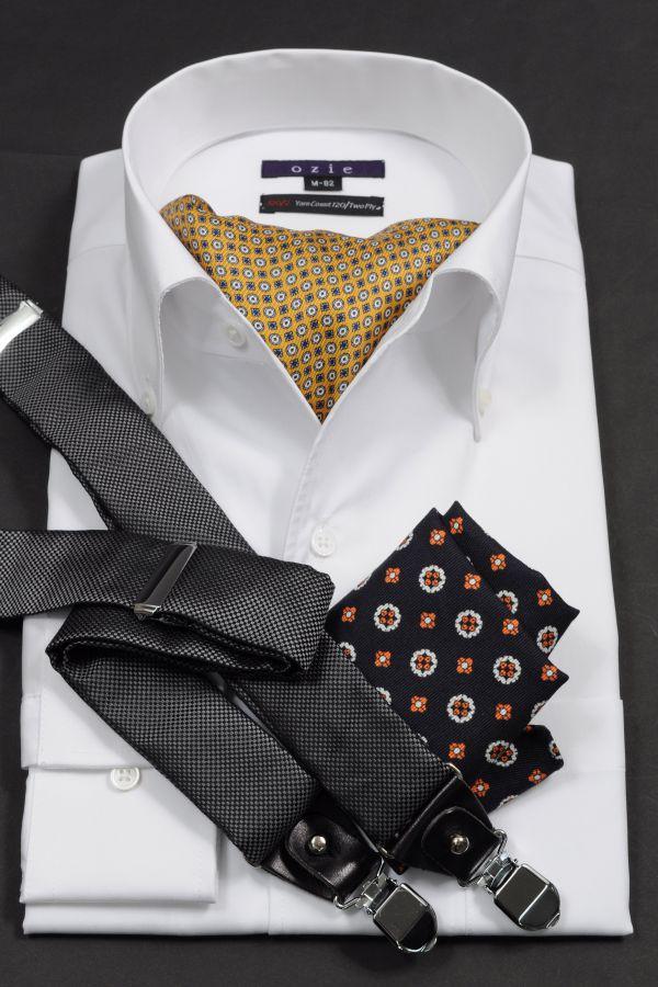 ozie|オジエ 8019-G12E 120番手双糸シャツ イタリアンカラー・スキッパー