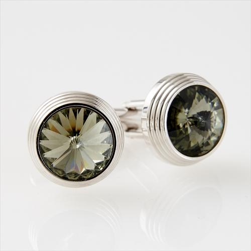 ozie|オジエ スワロフスキー・カフスボタン・ブラックダイヤモンド HM1000