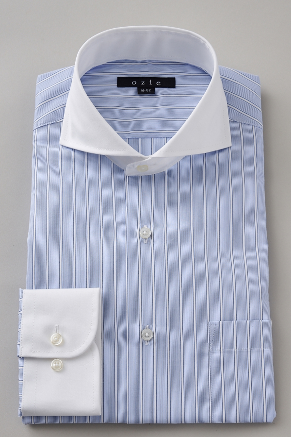 ozie|オジエ 8070CL-G09A-BLUE ホリゾンタルカラー・クレリックシャツ