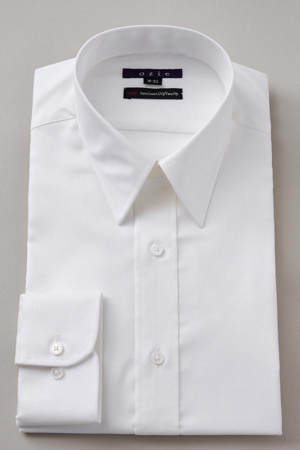 ozie|オジエ 8078-G12A レギュラーカラー白シャツ・120番手双糸