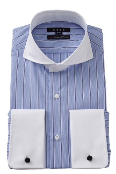 ozie|オジエ 8006CL-E08B-BLUE ホリゾンタルカラー・ダブルカフスシャツ
