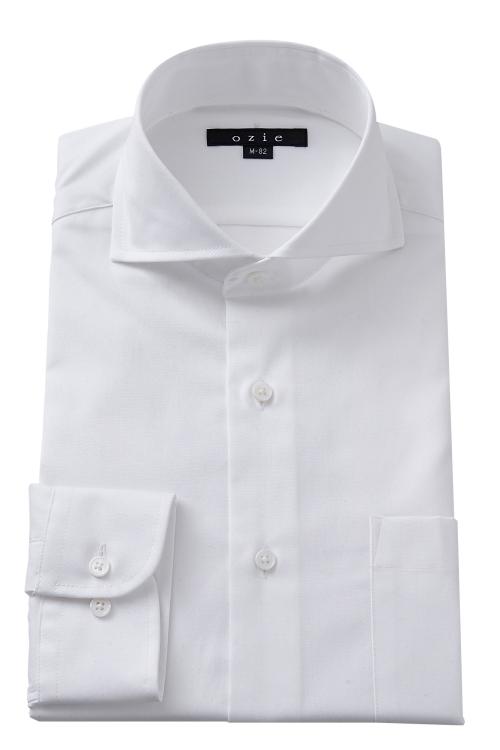 ozie|オジエ 8070-H06A-1  綿100%形態安定のホリゾンタルカラーシャツ