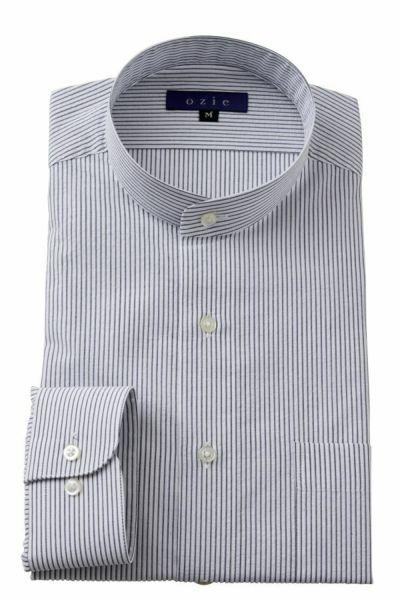 ozie|オジエ 8063-Y03D-GRAY スタンドカラーシャツ・シアサッカー素材