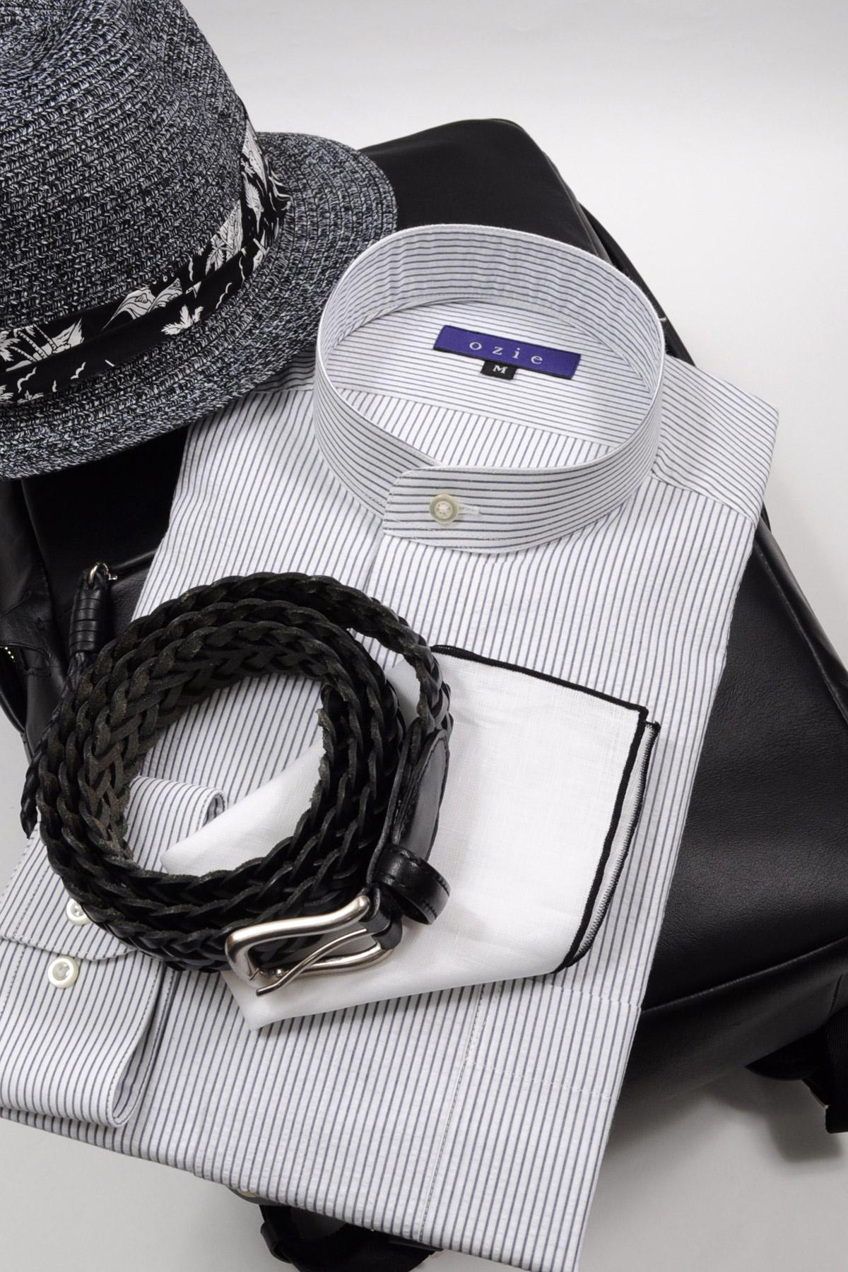 ozie|オジエ スタンドカラーシャツ・コーディネート