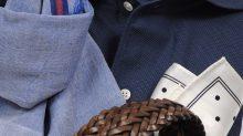 ozie|オジエ からみ織シャツ 8045-Y03C-NAVY-M-3982