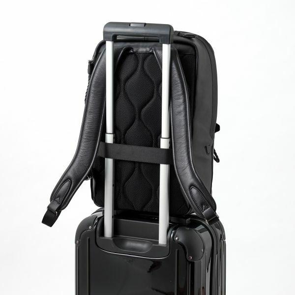 ozie|オジエ BG-L2-PAZ102-10-BLACK 【バッグ】鞄・P.I.D・Ecrire・撥水レザーリュック・牛革スムース・ツイルコットン・ブラック