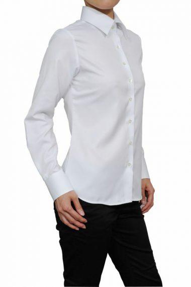 ozie|オジエ 6071-H03-WHITE- 【レディースシャツ】ナチュラルフィット・長袖・クールマックス・スーパードライ・形態安定・ワイドカラー・日本製