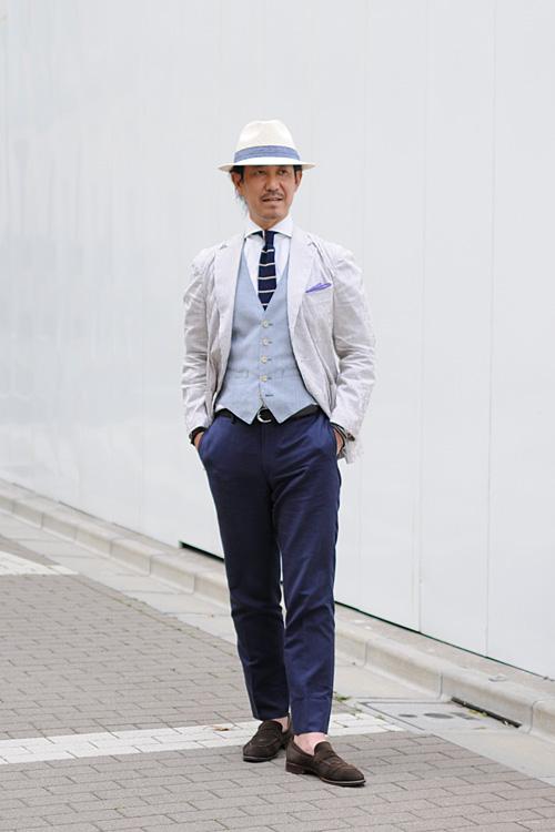 ozie|オジエ シアサッカーのスーツに合わせるおすすめシャツ ニットシャツ