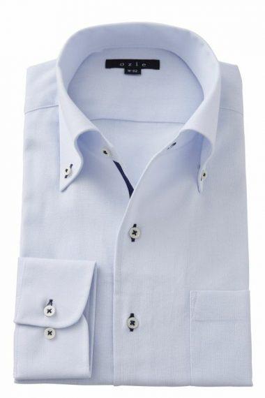 ozie|オジエ 8051T-Y05B イタリアンカラー・ボタンダウン・からみ織シャツ