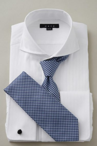 ozie|オジエ ホリゾンタルカラー・ダブルカフスシャツ ネクタイ着用時