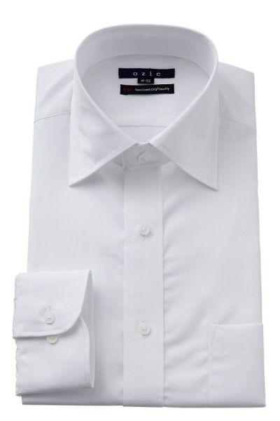 ozie|オジエ ワイドカラー白シャツ・ブロード・ダブルカフスシャツ 8085-WTM-WHITE