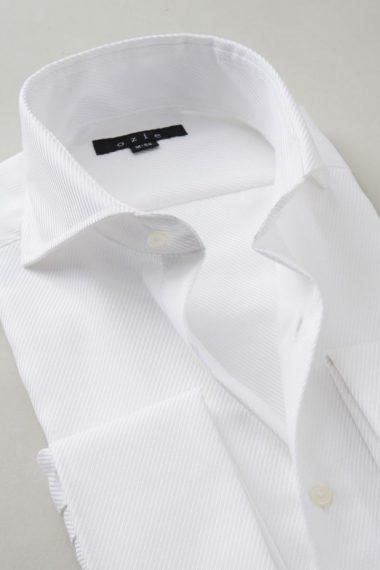 ozie|オジエ ホリゾンタルカラー・ダブルカフスシャツ 8006-Y09A-WHITE 衿 ノーネクタイ時