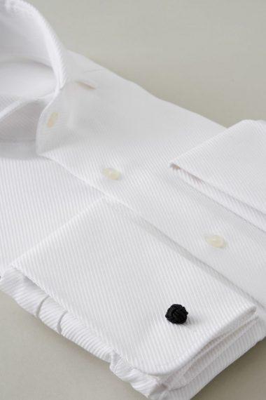 ozie|オジエ ホリゾンタルカラー・ダブルカフスシャツ 8006-Y09A-WHITE カフス部分