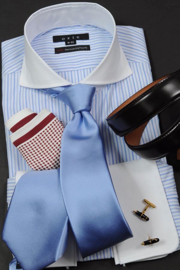 ozie|オジエ 華やかなセレモニースタイル・ホリゾンタルカラーのダブルカフスシャツ 8006cl-e08②