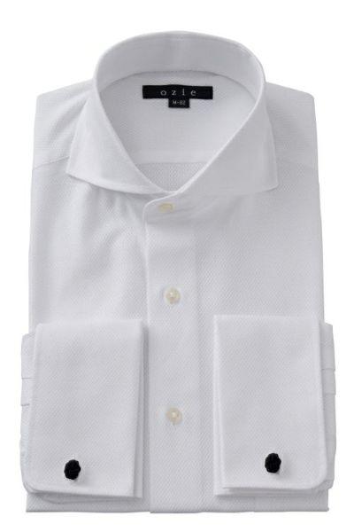 ozie|オジエ からみ織り生地シャツ・ホリゾンタルカラー・ダブルカフス・8006-G03A-WHITE