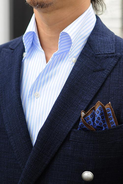 ozie|オジエ からみ織り生地シャツ・スキッパータイプのイタリアンカラーシャツコーディネート1