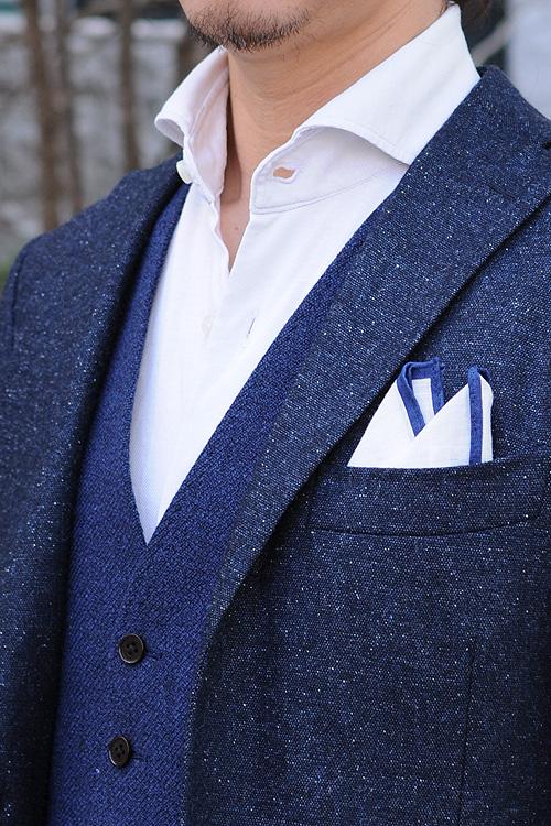 ozie|オジエ ホリゾンタルカラー+ニットシャツ+ウール・シルク混ネクタイ2