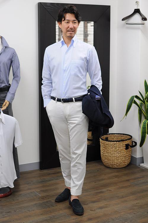 ozie|オジエ からみ織り生地シャツ・スキッパータイプのイタリアンカラーシャツコーディネート3