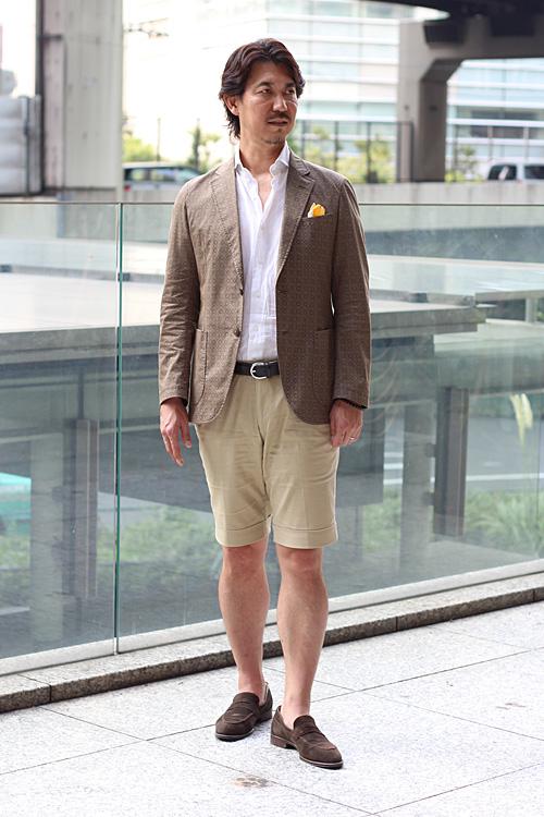 ozie|オジエ 短パン+麻シャツ+ジャケットのコーディネート例