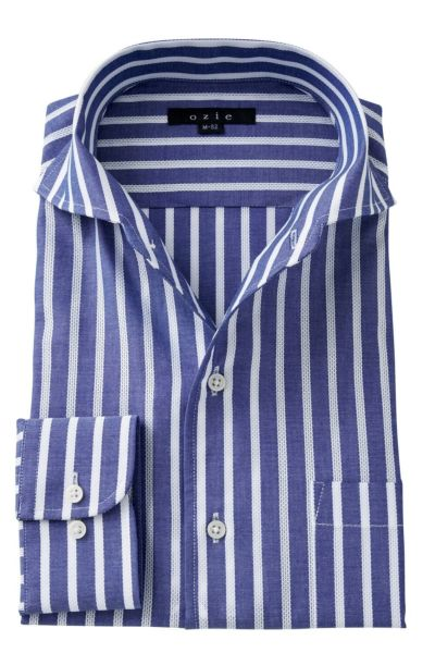 ozie|オジエ イタリアンカラー/ワイドのからみ織りシャツ・8045-A03E