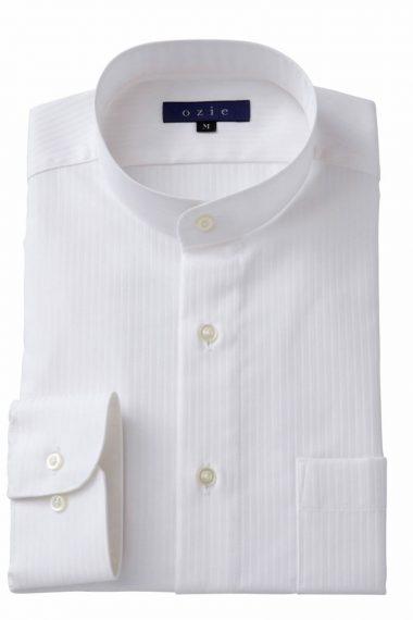 ozie オジエ スタンドカラーシャツ・8063-A05B-WHITE
