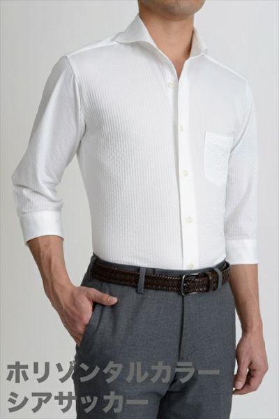 ozie|オジエ シアサッカー素材を使用したホリゾンタルカラーニットシャツ・8014HSS-G03A-WHITE①