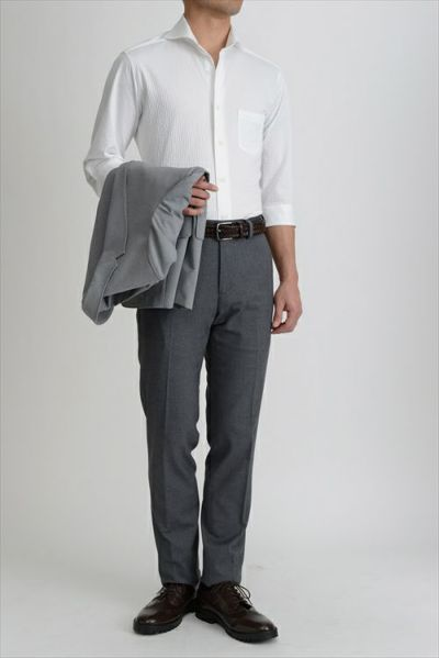 ozie|オジエ シアサッカー素材を使用したホリゾンタルカラーニットシャツ・8014HSS-G03A-WHITE②