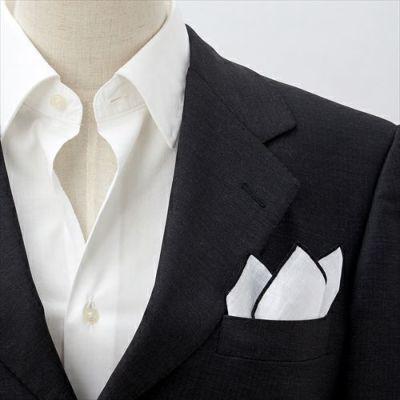 ozie|オジエ ポケットチーフ・リネン・麻・着用イメージ画像・スリーピークス・CHA-A-004-BLACK