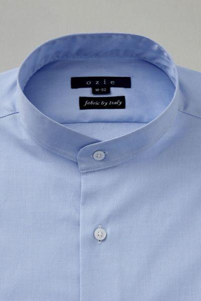 ozie|オジエ スタンドカラーシャツ・衿画像・8063IT-Y10B-SAX