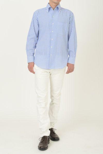 オジエ|ozie シアサッカー素材シャツの着丈の長さイメージ写真・8051C-A04B-BLUE