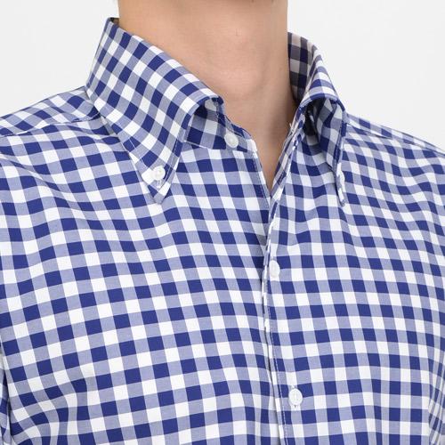 ozie オジエ イタリアンカラーのボタンダウンシャツ・第一ボタンアリ