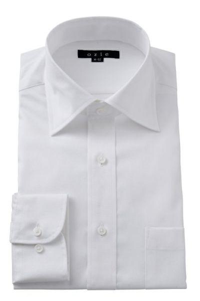 ozie オジエ ワイドカラー・綿100%形態安定シャツ・プレミアムコットン・8023-L09A-1