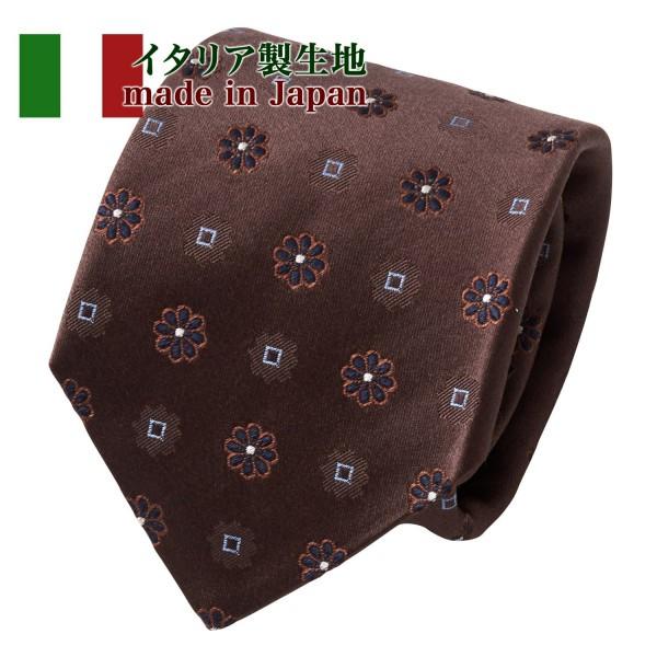 ozie オジエ イタリア製生地使用ネクタイ・イタリアンタイ・小紋・ブラウン・NI-331