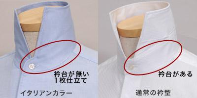 イタリアンカラーは、衿台が無いのでネクタイの着用はお控えください